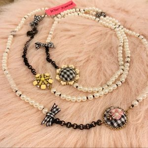Betsey Johnson Pearls and Beaded Necklace
